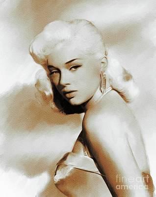 Dor Wall Art - Painting - Diana Dors, Movie Legends by Mary Bassett