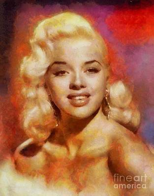 Dor Painting - Diana Dors, Vintage British Actress And Pinup by Sarah Kirk