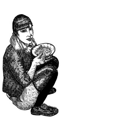 Snack Drawing - Diana Eating by Karl Addison