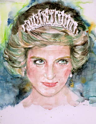 Painting - Diana - Princess Of Wales - Watercolor Portrait.4 by Fabrizio Cassetta