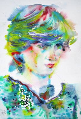 Painting - Diana - Princess Of Wales - Watercolor Portrait.5 by Fabrizio Cassetta