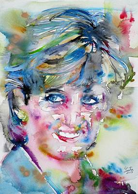 Painting - Diana - Princess Of Wales - Watercolor Portrait.6 by Fabrizio Cassetta
