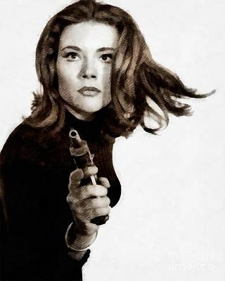 Musician Royalty-Free and Rights-Managed Images - Diana Rigg, Vintage Actress by John Springfield by John Springfield