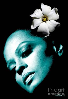 Motown Digital Art - Diana Ross With Flower by Walter Oliver Neal