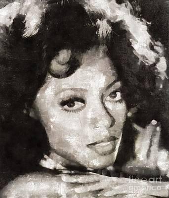 Elvis Presley Painting - Diana Ross, Singer by Mary Bassett