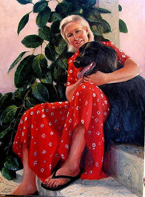 Art Print featuring the painting Diane And Cinder by Donelli  DiMaria