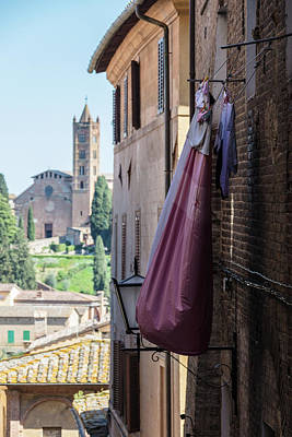 Photograph - Diane Italy Clothes Line And Church  by John McGraw