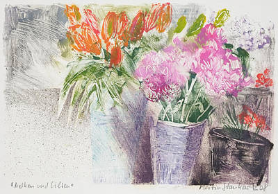 Painting - Dianthus And Lilies,floral Still Life by Martin Stankewitz