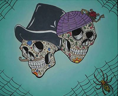 Bank Robber Painting - Dias De Los Muertos Bonnie And Clyde by Adrianne Porter