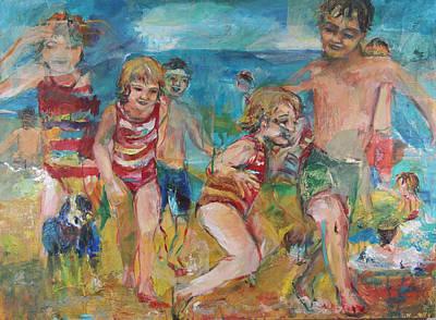 Dog Play Beach Painting - Dias De Playa by Mariana Sola