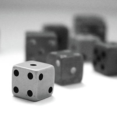 Poker Mixed Media - Dice 1- Black And White Photo By Linda Woods by Linda Woods