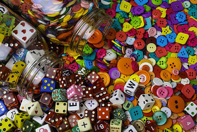 Photograph - Dice And Buttons by Garry Gay