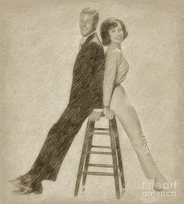 Fantasy Drawings - Dick Van Dyke and Mary Tyler Moore by Frank Falcon