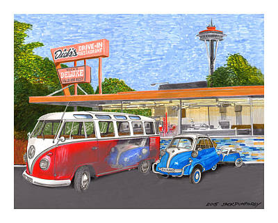 Painting - Dicks Drive In Seattle by Jack Pumphrey