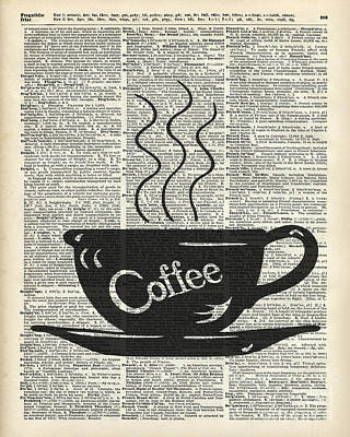 Drawing - Dictionary Art Hot Coffee Cup by Jacob Kuch