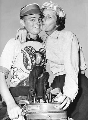 Photograph - Didrikson Kisses Caddy by Underwood Archives