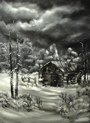 Zaun Painting - Die Alte Huette by Eva Borowski