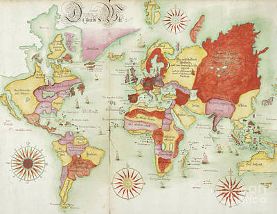 Photograph - Die Gantse Welt World Map C1675 by Rick Bures