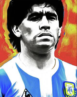 Diego Maradona By Nixo Print by Nicholas Efthimiou Nixo
