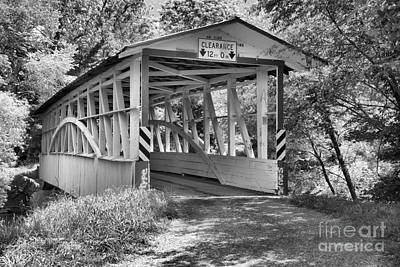 Photograph - Diehls Covered Bridge Black And White by Adam Jewell