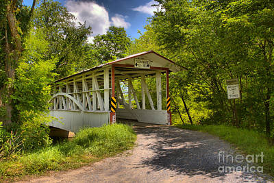 Photograph - Diehl's Covered Bridge Old Country Road by Adam Jewell
