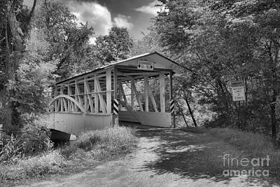 Photograph - Diehl's Covered Bridge Old Country Road Black And White by Adam Jewell