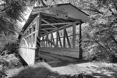 Photograph - Diehls Rural Covered Bridge Black And White by Adam Jewell