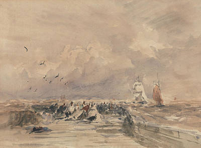 Dieppe Pier, Stiff Breeze Art Print by David Cox