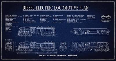 Railroad Workers Digital Art - Diesel-electric Locomotive Plan C. 1960 by Daniel Hagerman