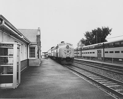 Photograph - Diesel Engine At Station - 1961 by Chicago and North Western Historical Society
