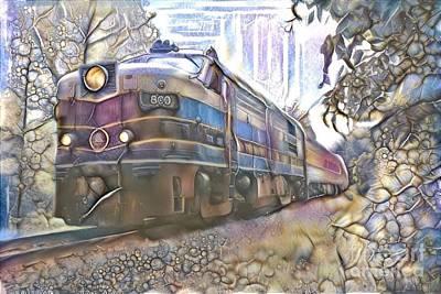 Steampunk Mixed Media - Railroad diesel locomotive on the tracks by Douglas Sacha