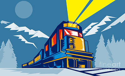 Whimsical Animal Illustrations - Diesel train winter by Aloysius Patrimonio