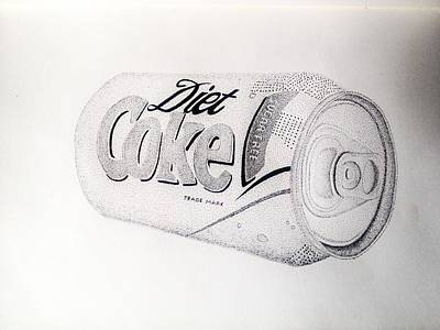 Concept Art Inks Drawing - Diet Coke Can by Pedro  Almeida