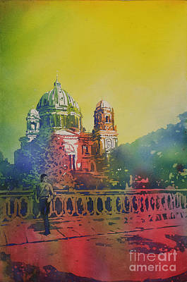 Poured Watercolours Painting - Different Look On The Berlin Cathedral by Ryan Fox
