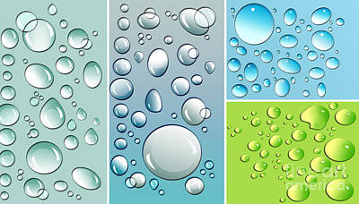 Rain Wall Art - Digital Art - Different Size Droplets On Colored Surface by Sandra Cunningham