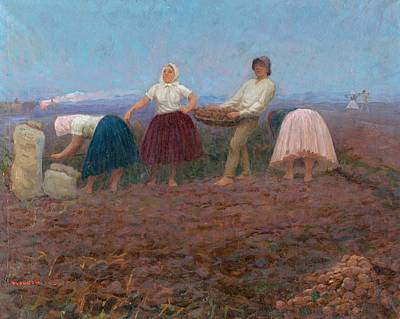Painting - Digging Potatoes, Jozef Theodor Mousson, 1924 by Vintage Printery