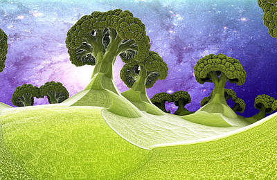 Broccoli Planet Art Print