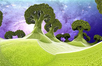 Trippy Digital Art - Broccoli Planet by Dr-Pen