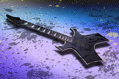 Horizontal Digital Art - Digital-art E-guitar II by Melanie Viola