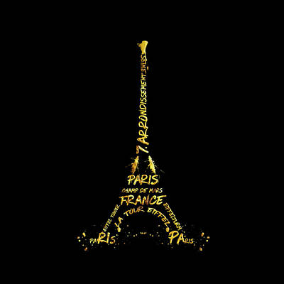 Golden Digital Art - Digital-art Eiffel Tower - Black And Golden by Melanie Viola