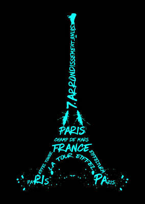 Digital-art Eiffel Tower Cyan Art Print by Melanie Viola