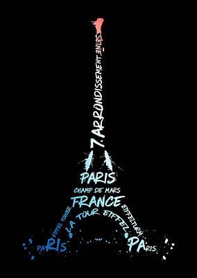 Abstract Sights Digital Art - Digital-art Eiffel Tower National Colours by Melanie Viola