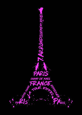 Paris Digital Art - Digital-art Eiffel Tower Pink by Melanie Viola
