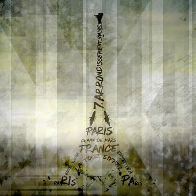 Digital-art Paris Eiffel Tower Geometric Mix No.1 Art Print by Melanie Viola