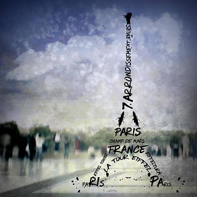 Digital-art Paris Eiffel Tower No 1 Print by Melanie Viola