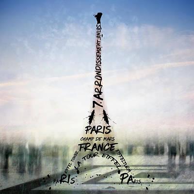 Abstract Sights Digital Art - Digital-art Paris Eiffel Tower No 3 by Melanie Viola