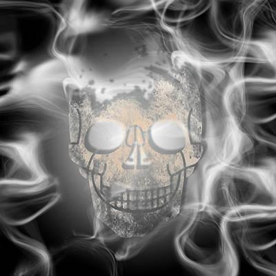 Fantasy Mixed Media - Digital-Art Smoke and Skull by Melanie Viola