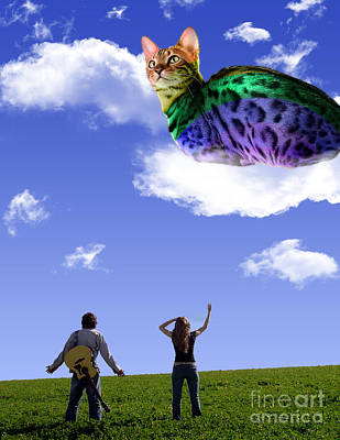 Digital Artwork - Rainbow Kitty In The Sky Original