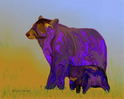 Digital Art - Digital Black Bear Sow And Cub by Kae Cheatham