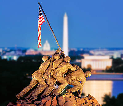Marine Corps Photograph - Digital Composite, Iwo Jima Memorial by Panoramic Images